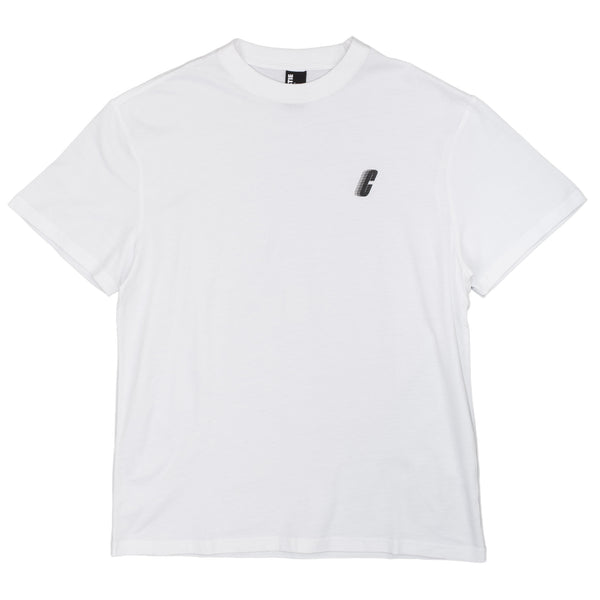 The Race C Logo Tee in white by Chrystie from Chrystie NYC comes in a cut and sew 170 GSM construction, with a silk screened logo on the left chest.