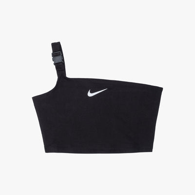 Nike Sportswear Swoosh Cropped Tank Top - Black / White - Front - Off The Hook Montreal