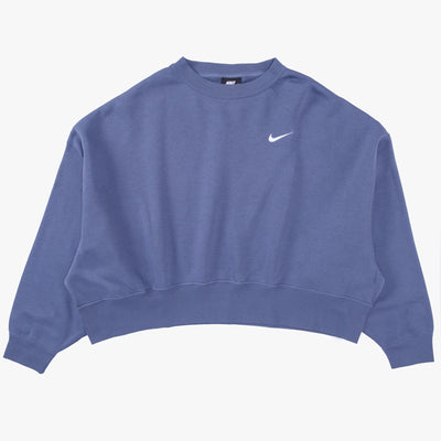Nike Sportswear Essential Fleece Crewneck - Blue / White - Front - Off The Hook Montreal