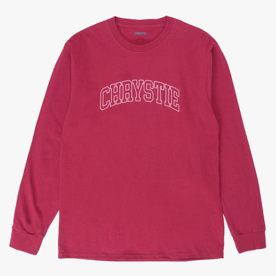 Chrystie Collegiate Logo LS Shirt Cardinal - Front - Off The Hook Montreal