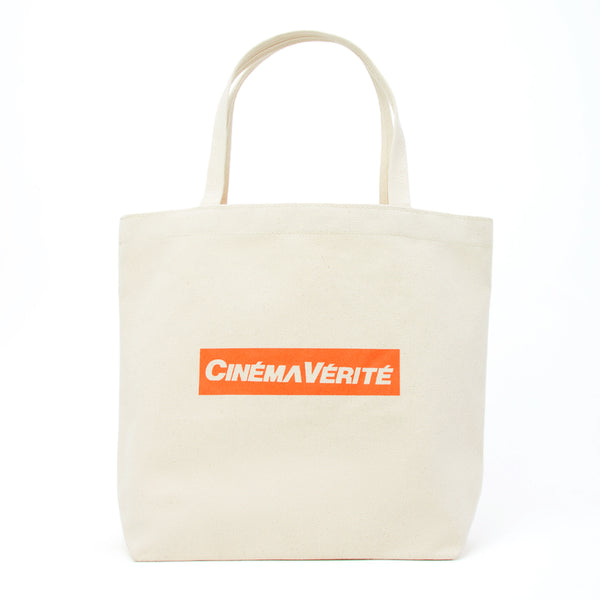 Cinema Verite Logo Tote Bag Natural front view - available at off the hook montreal