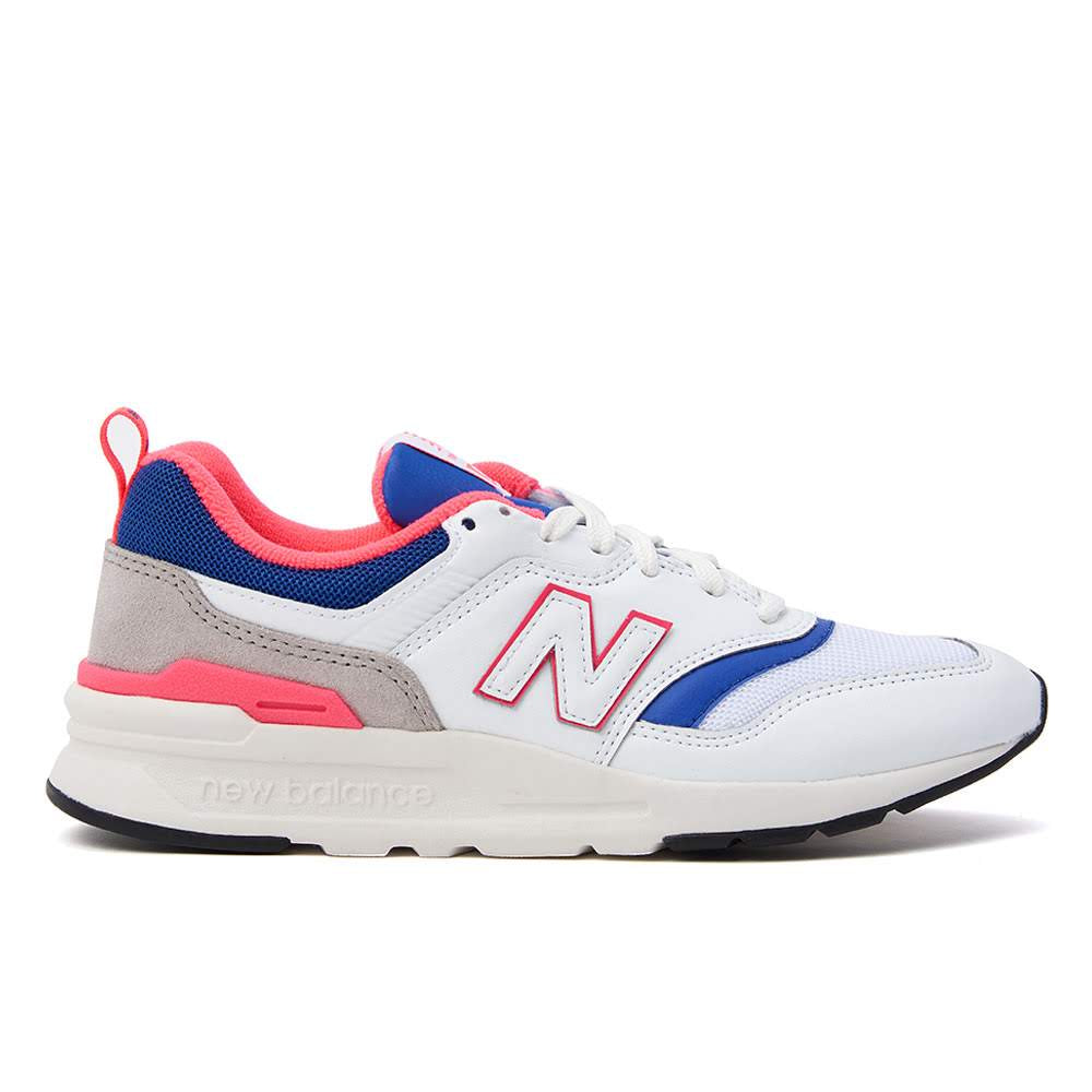 Boasting an upper constructed with synthetic leather and mesh, New Balance's 997 sneaker is a modern classic. This eye catching iteration of the sneaker also features a GCEVA foam midsole, allowing for ultimate comfort. This product is displayed in Women's sizing Product code: CW997HAJ-WHT/BLU/PINK offf the hook oth streetwear sneakers shoes boutique canada montreal