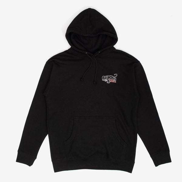 The Panther Hoodie from Cold World Frozen Goods features an embroidered graphic atop a 15 oz light weight hoodie.  Product code: CWD4.H03.BLK off the hook oth streetwear boutique canada montreal