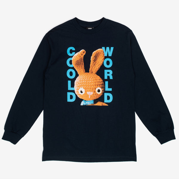 The Dirty Bunny Longsleeve T-Shirt in Navy from Cold World Frozen Goods features a custom graphic on the center chest, and ribbed cuffs.  Product code: CWD4.LS03 off the hook oth streetwear boutique canada montreal