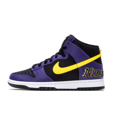 "Nike Dunk High EMB ""Lakers"" - Black/Opti Yellow/Purple/White - Side - Off THe Hook Montreal"