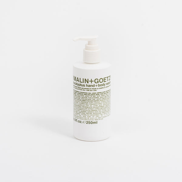 The Malin+Goetz Hand and Body Wash balances natural glycerin with their amino acid technology to deliver a fully hydrating, full hand and body cleanse. Skin rinses free of residue for a soft, smooth after-feel. Natural eucalyptus leaves a light, invigorating scent. oth off the hook skin care skincare apothecary boutique montreal canada