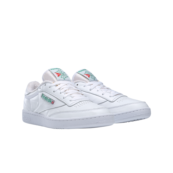 Reebok FX3874 Club C 85 White/Green front 3/4 available at off the hook montreal