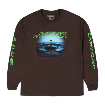 Pleasures P20F060 Performance Long Sleeve T-Shirt Chocolate front available at off the hook montreal