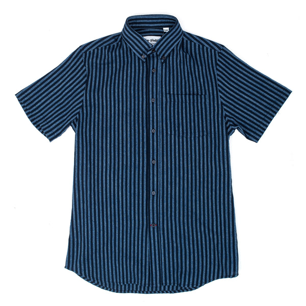 Chest Pocket Short Sleeve Regular Fit 100% Cotton Fabric from Japan Made in Canada Product code: SP20BV002 Gino Dobby S/S Shirt Stripe Navy / Light Blue off the hook oth streetwear boutique menswear canada montreal