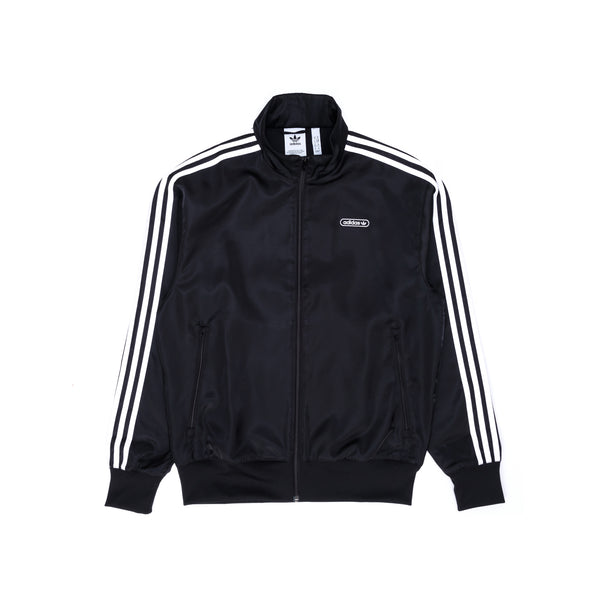 adidas Satin Firebird Jacket - Black / White - Front - Off The Hook Montreal