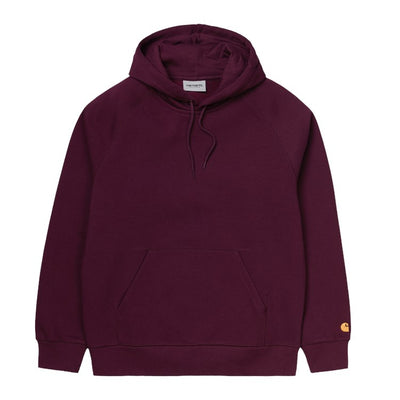 Carhartt WIP Hooded Chase Sweatshirt - Bordeaux / Gold - Front - Off The Hook Montreal