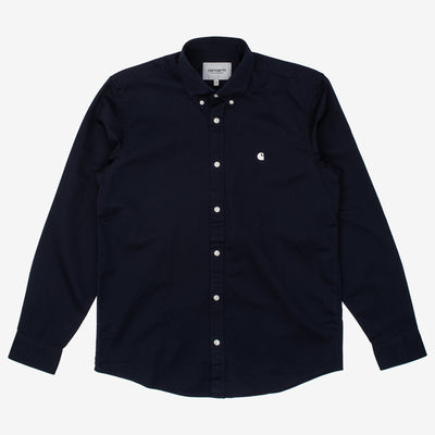 Carhartt WIP Madison L/S Shirt -  Dark Navy / Wax - Front - Off The Hook Montreal
