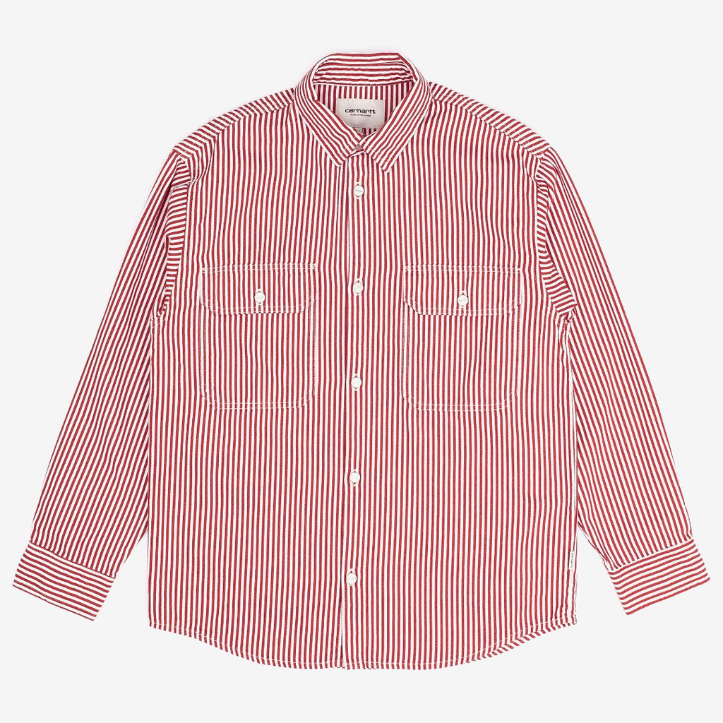 carhartt wip Great Master Shirt Striped Red / White W is now available on off the hook montreal