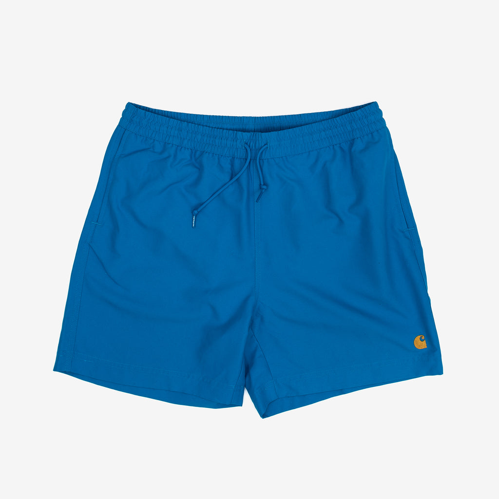 The Chase Swim Trunk is constructed from lightweight, fast-drying polyester. Features embroidered Carhartt 'C' motif on left leg, two side pockets and inner trunk. A pocket on the back adds utility with it's interior key holder.  100% Polyester, 3.7 oz Water Repellent Product code: I026235.08M.90 off the hook oth streetwear boutique canada montreal