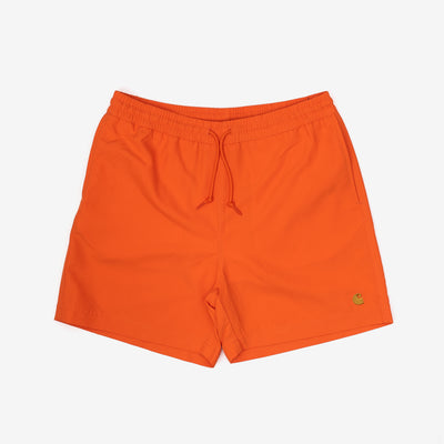 The Chase Swim Trunk is constructed from lightweight, fast-drying polyester. Features embroidered Carhartt 'C' motif on left leg, two side pockets and inner trunk. A pocket on the back adds utility with it's interior key holder.  100% Polyester, 3.7 oz Water Repellent Product code: I026235.08O.90 off the hook oth streetwear boutique canada montreal orange swimming swimsuit
