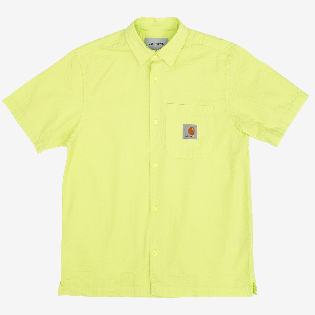 The Southfield Shirt in Lime is a regular fit, short sleeve button down constructed from a lightweight cotton seersucker, ensuring you stay breezy on hot summer days. It features a chest pocket with a button closure, and the iconic Carhartt patch logo sewn overtop. 100% Cotton Seersucker, 4.1 oz Product Code : I027510.09E.00 off the hook oth streetwear boutique canada montreal