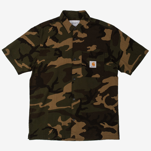 The Southfield Shirt In Laurel Camo is a regular fit, short sleeve button down constructed from a lightweight cotton seersucker, ensuring you stay breezy on a hot summer day. It features a chest pocket with a button closure, and the iconic Carhartt patch logo sewn overtop. 100% Cotton Seersucker, 4.1 oz Product Code : I027510.640.00 off the hook oth streetwear boutique canada montreal