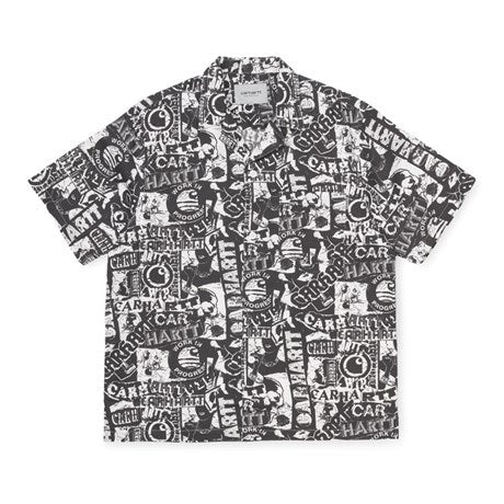 Carhartt I027532 College S / S Shirt Black / White - devant - disponible à off the hook montreal