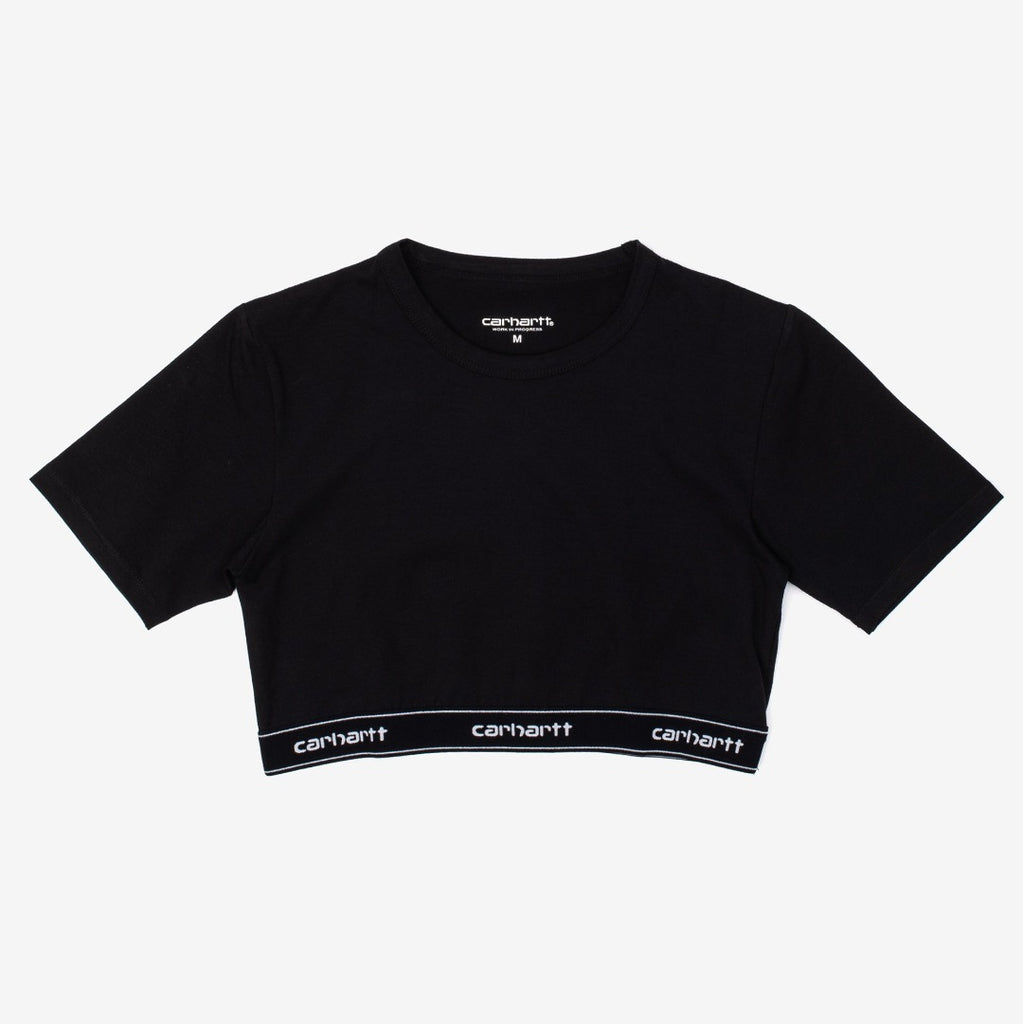 The Script Crop Top in Black / White is a fitted top, with a repeating Carhartt logo elastic tape, that also provides support. 93/​7% Cotton/​Elastane, 205 g/​sqm Product Code : I027559.89.90 off the hook oth streetwear boutique canada montreal