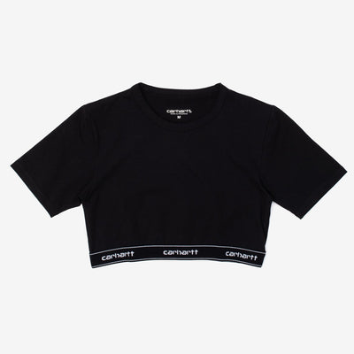 Carhartt WIP Script Crop Top - Black / White - Front - Off The Hook Montreal