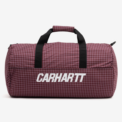 The Alistair Duffle Bag in Black / Etna Red from Carhartt WIP is a plaid check patterned duffle bag, that comes with a zip closure, detachable and adjustable shoulder straps, and an interior mesh pocket. A Carhartt logo is emblazoned across the front. 30 x 54 x 30 cm / 11.8 x 21.3 x 11.8 inch 48.6 liter 100% Polyester, 2.1 oz Product Code: I027623.89.07 off the hook oth streetwear boutique canada montreal