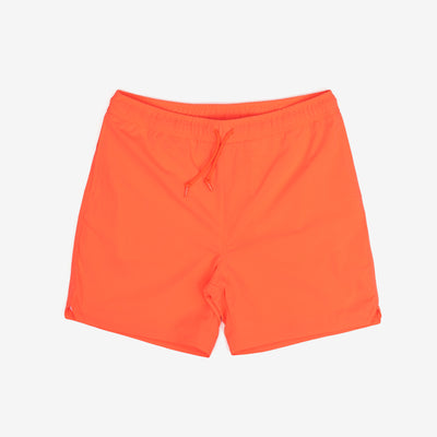 "The Aran Swim Trunk in Pop Coral are lined trunks constructed from lightweight, fast-drying polyester. Features a summery take on Carhartt 'C' logo as a rubberized patch. They boast two side pockets, and a zip pocket on the back adds utility with it's interior key holder.  100% Polyester, 3 oz 6"" inseam Water Repellent Product Code : I027640.09H.00 off the hook oth streetwear boutique canada montreal"