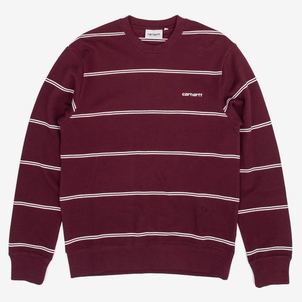 The Spacer Sweatshirt in Shiraz / White from Carhartt WIP is a soft brushed crewneck, with an allover striped pattern. It comes in a regular fit, and features ribbed cuffs, hem and collar. The small embroidered script logo rounds out the piece.  100% Cotton, 7.1 oz Product code: I027704.08L.90 off the hook oth streetwear boutique canada montreal