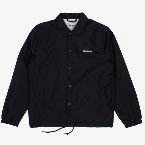 The Carhartt Script Coach Jacket in Black / Wax is a classic nylon coach jacket, straight from the archive of American sportstyle. This staple is durably made from nylon taffeta, and features a drawstring hem for an adjustable fit. Side pockets add functionality, and a printed logo appears on the chest for subtle branding. 100% Nylon Press Button Closure Product code: I027784.89.90 off the hook oth streetwear boutique canada montreal quebec