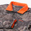 Carhartt I028094 Denby Reversible Jacket Camo / Orange - gros plan - disponible à off the hook montreal