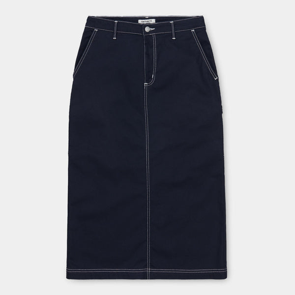 Carhartt WIP I028648 W' Pierce Skirt 98/2 Dark Navy Rinsed - front - available at off the hook montreal