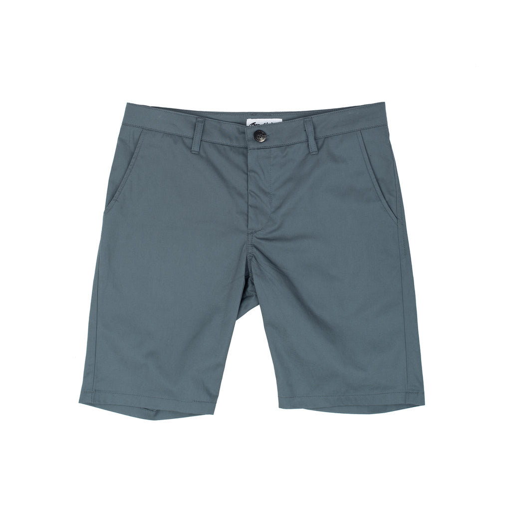 Lightweight Gabardine fabric from Japan Slim fitting shorts with a narrow opening at the knee Ziipper fly 100% Cotton Made in Canada Product code: SP20BV003 Keenan Short Lightweight Grey Blue off the hook oth streetwear boutique montreal menswear