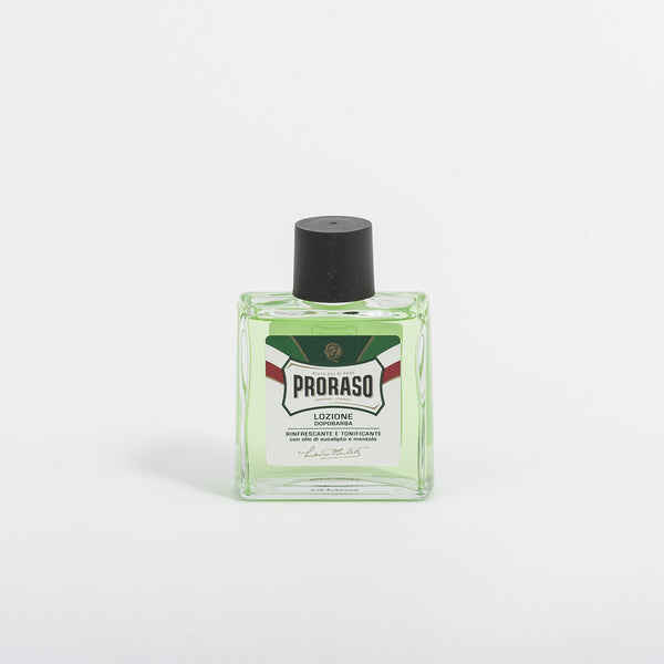 The traditional Proraso Green Label Aftershave Lotion formula contains Eucalyptus Oil and Menthol, providing immediate relief after shaving, toning and refreshing the skin.