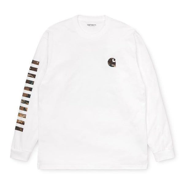 Carhartt WIP L/S Camo Mil T-Shirt White front available at off the hook montreal