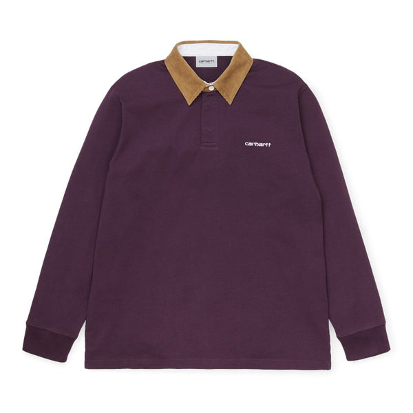 Carhartt WIP L / S Cord Rugby Polo Boysenberry / Hamilton / Brown / White front disponible à off the hook montreal