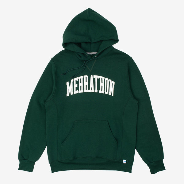 The College Pullover Hoodie in Forest Green from our homies at Mehrathon features a printed college font logo. It's no replacement for the school of hard knocks, but it will definitely probably make you look smarter. Men's Mehrathon Russell Athletic Pullover Hoody in Forest Green with collegial graphic print on center chest. Now at Off The Hook, OTH, Montreal, Quebec, Canada.