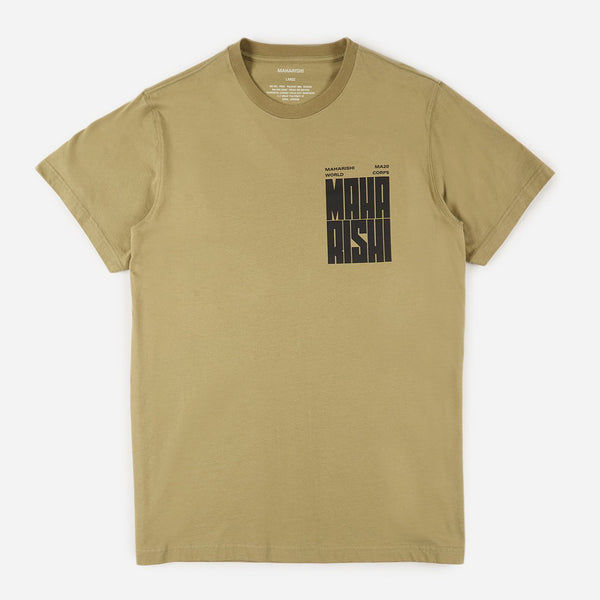Maharishi 9237 World Corps Organic T-shirt Maha Olive front view available at off the hook montreal