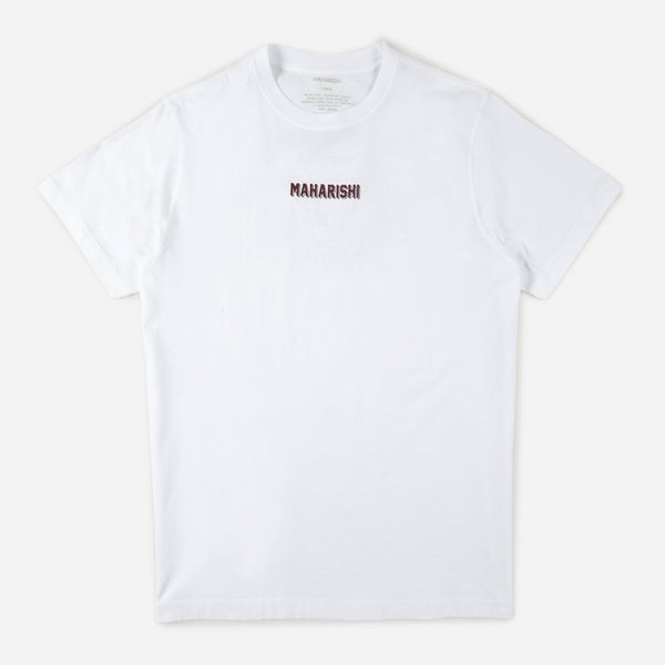 Maharishi 9231 cultura cat organic t-shirt white front view available at off the hook montreal