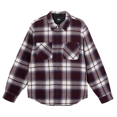Stussy 1110122 Max Plaid Quilted Shirt Burgundy front available at off the hook montreal