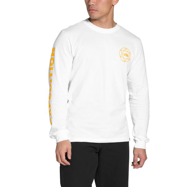 The North Face NF0A474PTU2 M L/S Double Sleeve Graphic Tee White/Summit Gold front available at off the hook montreal