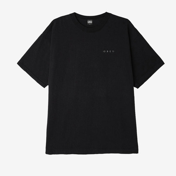 Novel OBEY 3 Knit T-Shirt Off Black front available at off the hook montreal