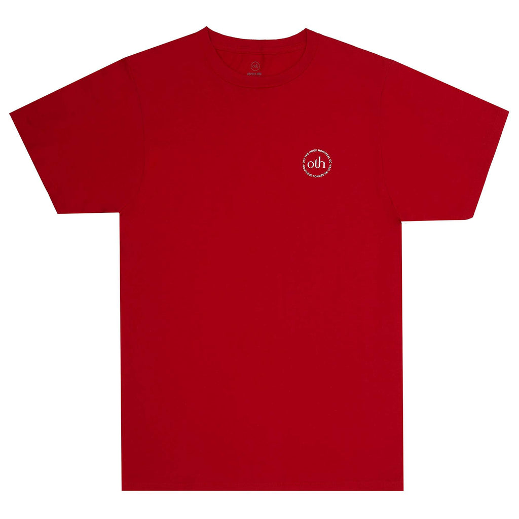 This short sleeve is part of the OTH 3.0 collection. It is made of 100% cotton and features a silkscreen logo on the left chest.  Product code: OTH006 red off the hook oth streetwear canada montreal boutique