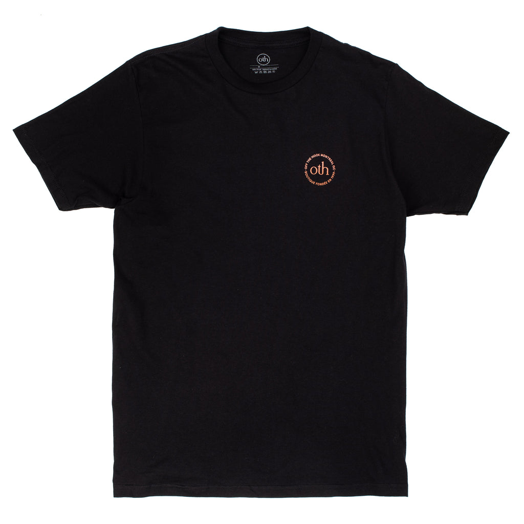 This short sleeve is part of the OTH 3.0 collection. It is made of 100% cotton and features a silkscreen logo on the left chest.  Product code: OTH3.0TEE OTH 3.0 T-Shirt Black / Brown off the hook streetwear boutique canada montreal
