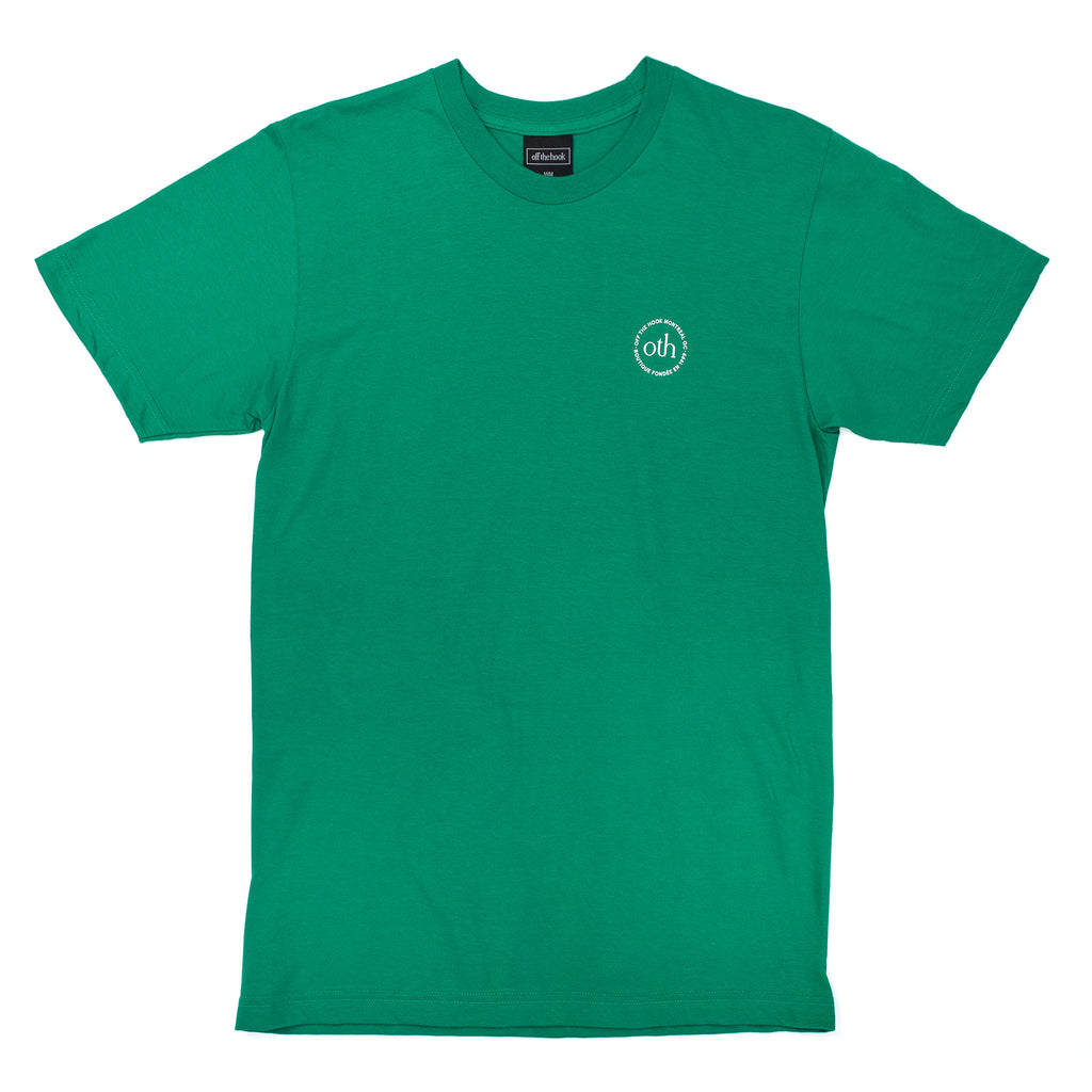 This short sleeve is part of the OTH 3.0 collection. It is made of 100% cotton and features a silkscreen logo on the left chest.  Product code: OTH3P0-KGRN kelly green off the hook oth streetwear boutique canada montreal