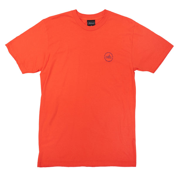 This short sleeve is part of the OTH 3.0 collection. It is made of 100% cotton and features a silkscreen logo on the left chest.  Product code: OTH3P0-ORG off the hook oth 3.0 logo t-shirt orange streetwear boutique montreal canada