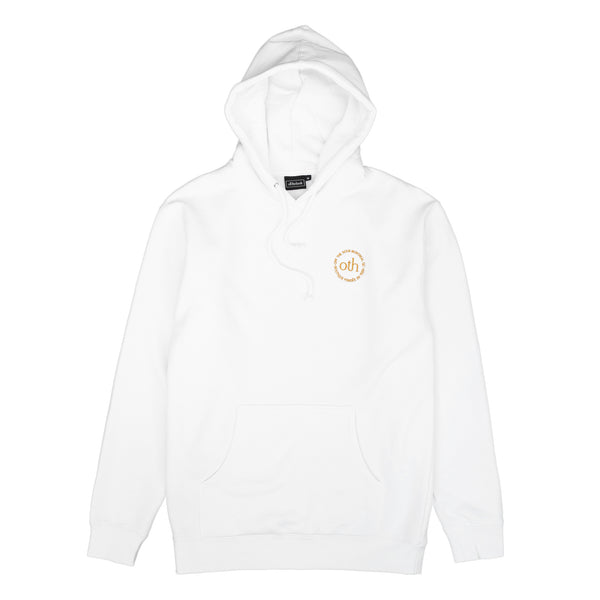 This hoodie is part of the OTH collection. It is made of 100% cotton and features a gold OTH circle embroidered logo.   Product code: OTH3.0HOOD-WHT off the hook oth 3.0 hoodie white canada montreal boutique streetwear