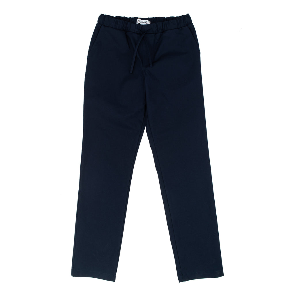 Relax fitting pants, with a slightly tapered leg Elastic Waistband Ripstop stretch fabric from Japan 97% Cotton / 3% Spandex Made in Canada Product code: SP20BV004 Otis Ripstop Stretch Pants Navy bon vivant off the hook oth streetwear menswear boutique montreal