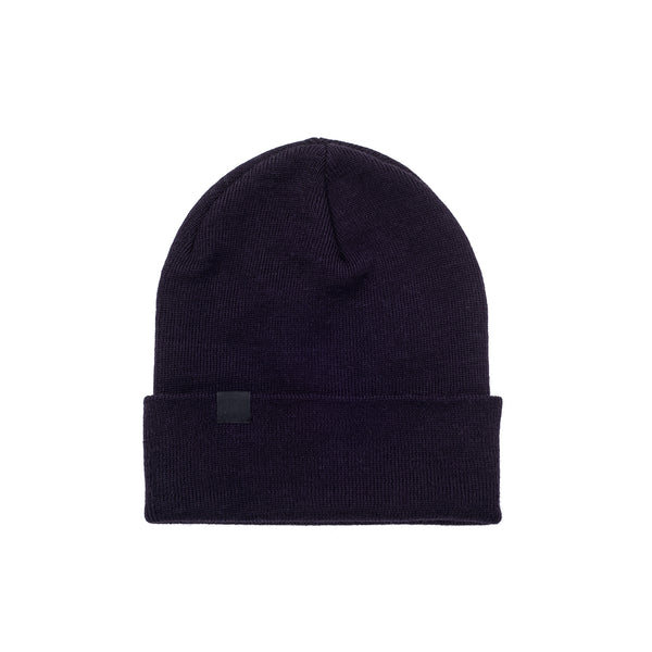Inspired by the unique boxer Stéphane Ouellet, this style features a very deep hood, a higher top and is inspired by classic workwear aesthetics.   50% Merino Wool / 50% Acrylic Made in Canada Product code: OUELLET2-PURPLE-O/S Ouellet Beanie 2.0 Purple off the hook oth streetwear boutique canada montreal winter hat