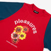 The Destruction Heavy Knit Shirt in Maroon from Pleasures is a custom fit, heavyweight knit cotton shirt that features embroidered and printed graphics, and contrast set-in sleeves.  100% Heavyweight Cotton Product code: P20SU003