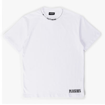 Pleasures Cut Here Heavy Weight T-Shirt - White - Front - Off The Hook Montreal #color_white