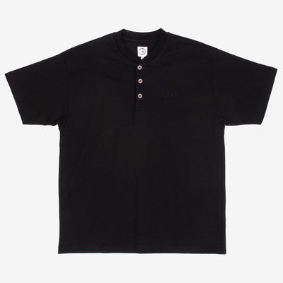 The Henley T-Shirt in Black from Polar Skate Co. features a tonal embroidered logo on the left chest, henley closure with custom buttons and sports a regular fit.  100% Cotton Made in Portugal Product code: POLSP20032 off the hook oth streetwear boutique canada montreal